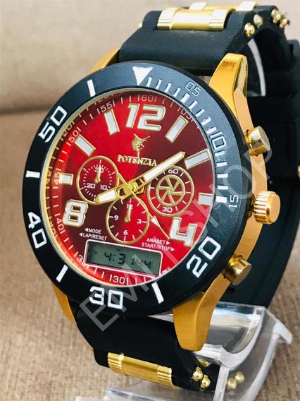 15x Relógio Luxo Dourado Militar Potenzia Barato + Caixa