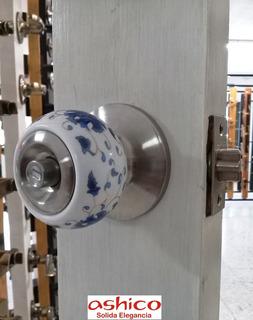 Cerradura Pomo Ashico Talavera Ceramica Para Baño Sin Llave