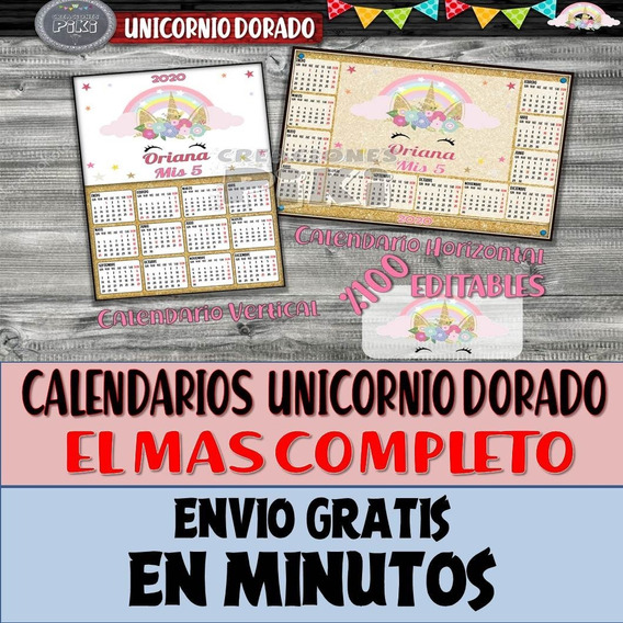 Calendario Imprimible Souvenir Editable Unicornio Dorado