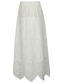 Falda Larga Desigual Blanca Con Transparencias Lyon France