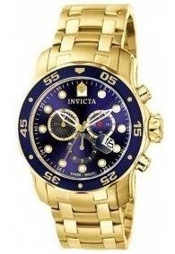 Relógio Invicta Pro Diver 0073 Dourado Com Azul