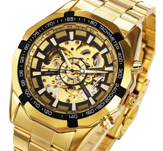 Relógio Mecânico Automático Dourado Preço Barato Oferta