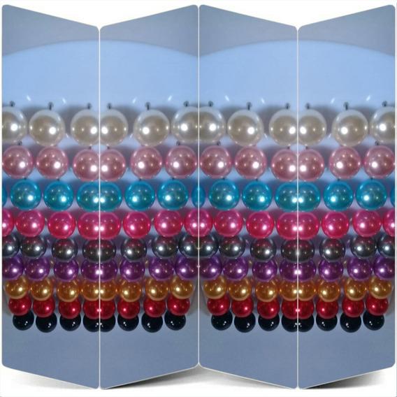 Cartela De Brincos Pérolas Grande Coloridas 36 Pares Barato