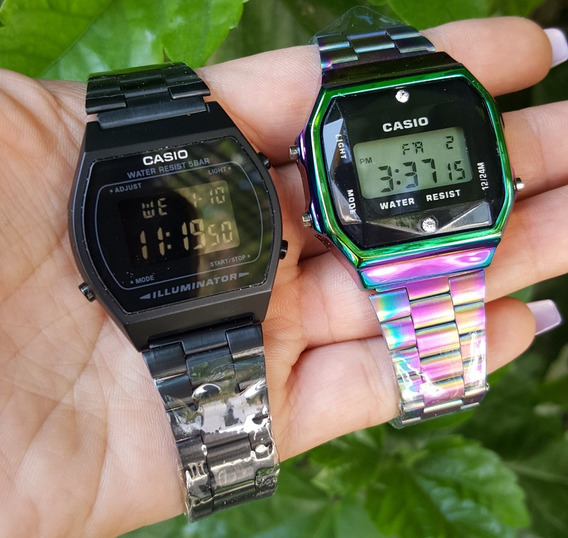 Reloj Negro Mate B640w + Tornasol A168 Negro Duo Vintage
