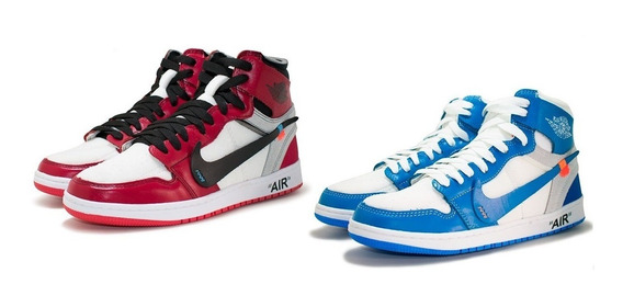 Nike Air Jordan 1 Off White Kit 2 Pares Basquete Top Dos Top