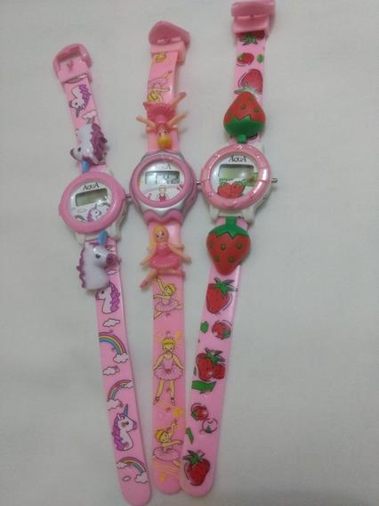 Mini Relógios Infantil P/meninas Kit/com 3 Unidades/novos/