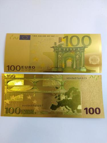 Imagen 1 de 1 de Billetes Dorados De 100 Euros Para La Buena Suerte
