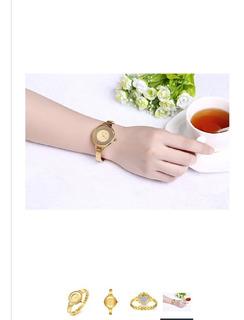 Reloj De Acero Inoxidable Para Las Mujeres Lujo Gold-tone