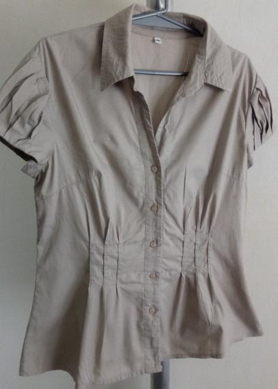 Camisa Mangas Cotas Con Pliegues