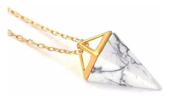 Colar Cordão Amuleto Pedra Pirâmide Howlite Root