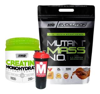 Mutantmassn.o. 5kg+creatina 1kg Starnutrition+shaker Mervick