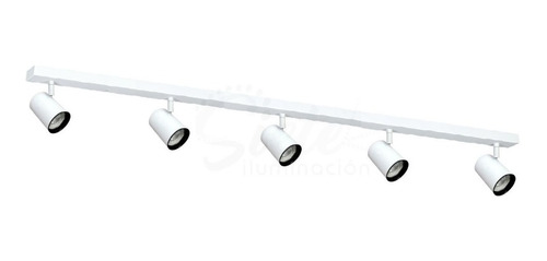Aplique Barral Riel 1 Metro 5 Luces Led 7w Completo Spots Direccionables Plafón Móvil Minimalista Incluye Lámparas Led
