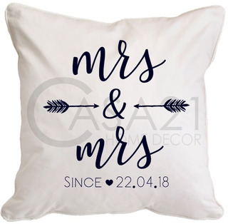 Funda Personalizable Mrs & Mrs 45 X 45 Loneta Algodón