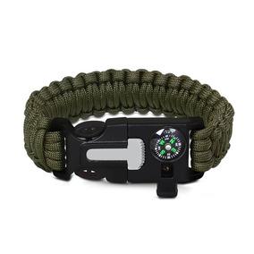 Pulseira Sobrevivência Paracord Survival Verde Militar