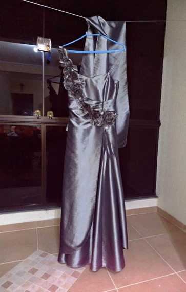 Vestido Longo Formatura Prata - Tamanho P (usado)