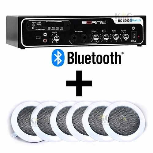 Kit Som Ambiente Borne Bluetooth Usb 6 Arandelas E Falante