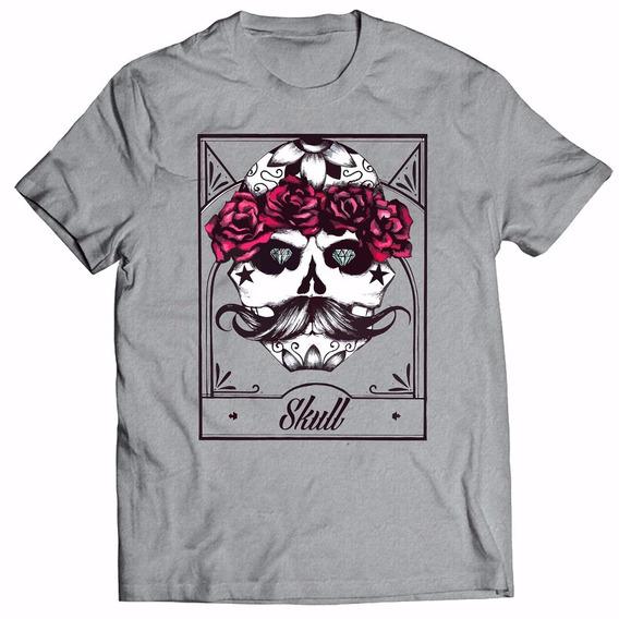Camiseta Caveira Mexicana Skull Tattoo Camisa Masculina