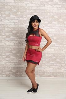Conjunto Saia Short E Cropped - Moda Fitness Feminina