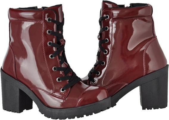 Bota Coturno Feminino Verniz Tratorado Ziper Cr Shoes 1701