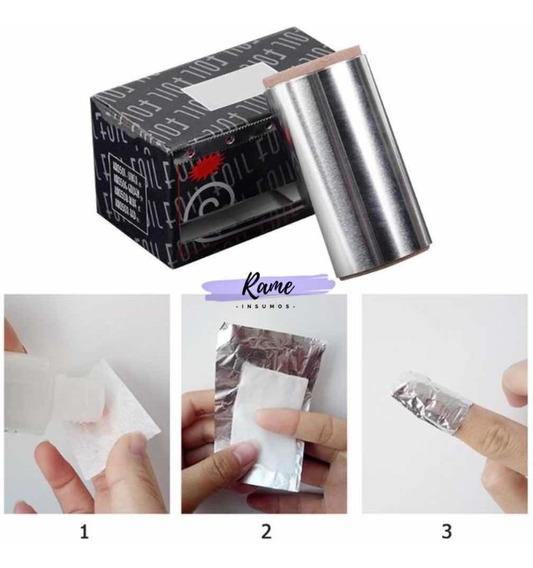 Papel Aluminio Foil Uñas Removedor Acrílico Gel Semipermanen