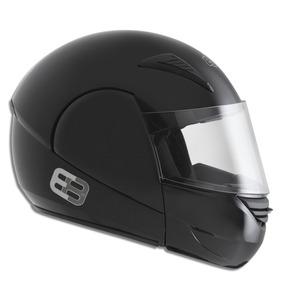 Capacete Moto Ebf E08 Solid Robocop 60 Preto Brilho Inmetro