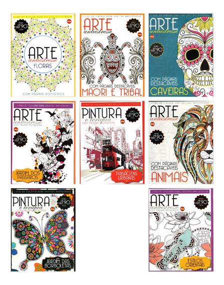 Kit 8 Livros De Colorir Para Adulto Arte Antiestresse Lote 2