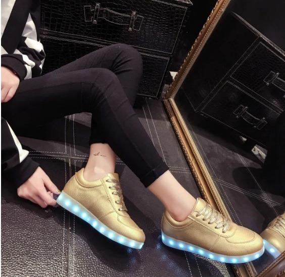 Zapatos Tenis Luces Led Recargables Usb Unisex Envio Gratis