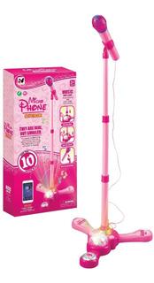 Micrófono De Pie Infantil, Reproduce Música Mp3 C/ Luz