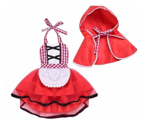 Disfraz Traje Vestido Caperucita Roja Cuento Bebé Capa Tutu