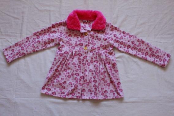 Vestido Soft Infantil Rosa C/ Manga E Pelinhos Na Gola Pink