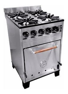 Cocina Industrial Familiar 4 Hornallas 57cm Eg Acero Inox