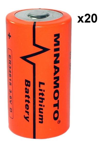 Kit 20 Pçs Bateria Er34615 3,6v 19ah Size D Minamoto Lithium