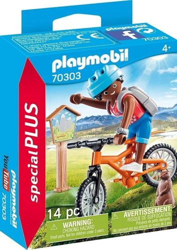 Imagen 1 de 7 de Playmobil Ciclista De Montaña Bicicleta Special Plus 70303