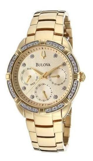 Relogio Bulova 98r171 Diamond Feminino Dourado
