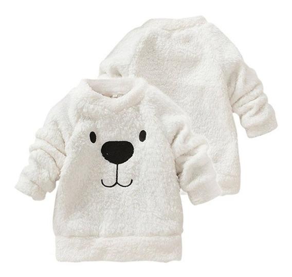 Casaco Infantil Blusa Frio Pelúcia Urso Moletom Pelinho