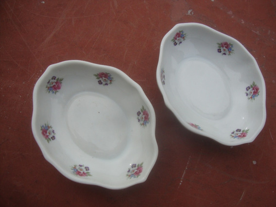 Lote 2 Bandejitas Picadas Porcelana Dresden 11,7 X 9,4 X 2,8