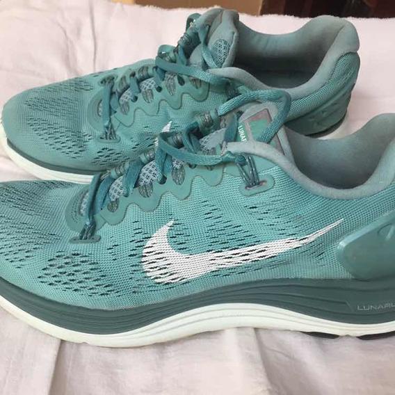 Zapatillas Nike Mujer Lunarlon Nro 38 Verde Agua