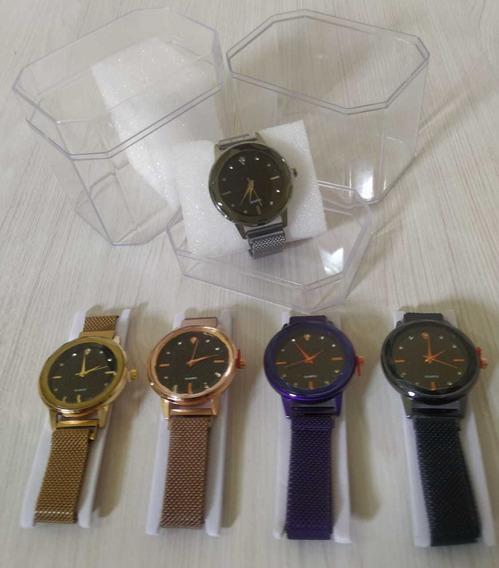 Kit C/10 Relógios Feminino Imã+caixa Acrílica Atacado Revend
