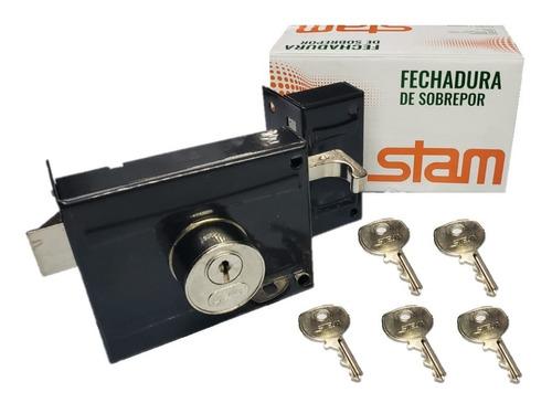 Fechadura Sobrepor P/ Portão Stam 701/100 Com 5 Chaves