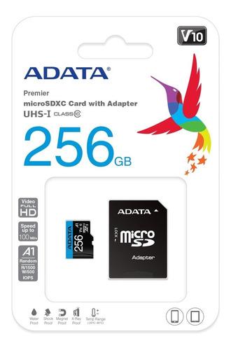 Memoria Micro Sd Adata 256gb Con Adaptador Sd Clase 10