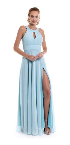 Vestido Festa Madrinha Azul Serenity Decote Trapézio