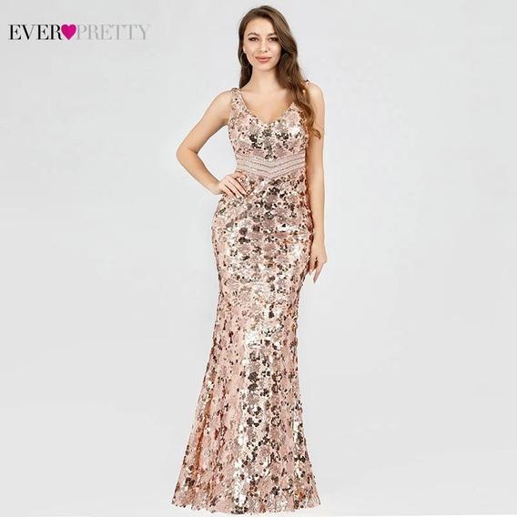 Vestido Ever-pretty Longo Festa De Lantejoulas Luxo
