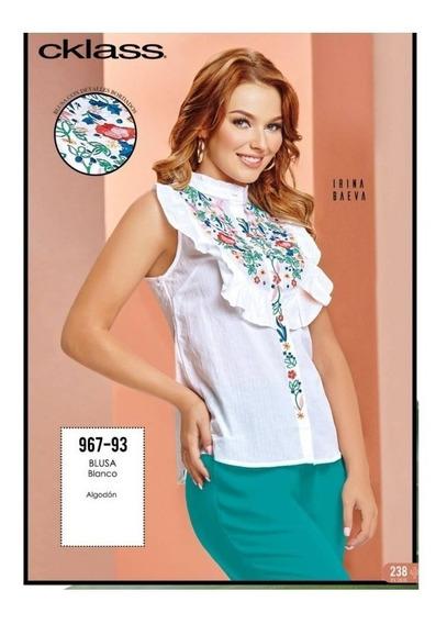 Blusa Cklass Blanca Flores Bordadas 967-93 T Chica