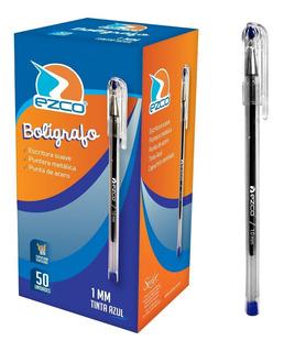 Boligrafos Ezco Birome Azul Caja X 50 1mm Bic Faber Pelikan