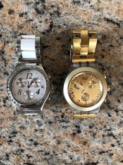 2 Relógios Swatch Modelos Irony E Diaphane (bem Conservados)