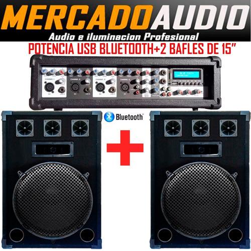 Imagen 1 de 4 de Combo Karaoke Potencia Usb Bluetooth+2 Bafles 15 Pulgadas
