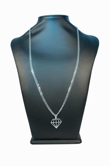 Cordão Masculino 70cm Prata Pura E Pingente Diamante +brinco