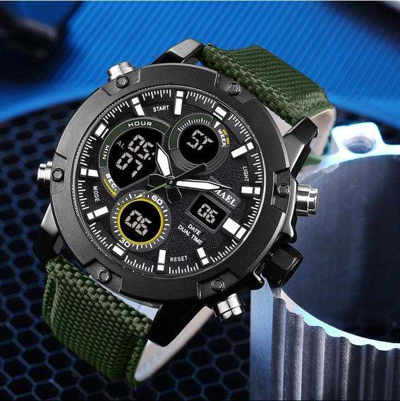 Relógio Smael Inox, Pulseira Couro, Dual Time (lançamento)
