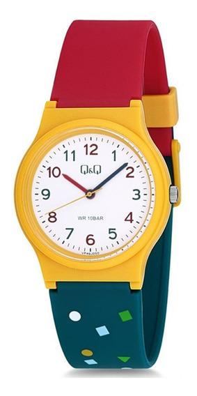Relógio Infantil Amarelo,vermelho E Azul Q&q Prova D