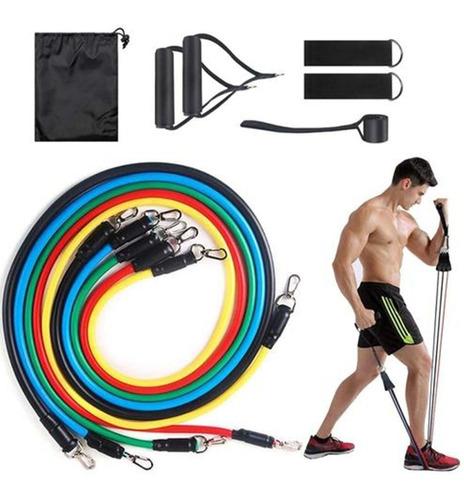 Imagem 1 de 7 de Extensor Elástico 11 Peças Para Exercícios Em Casa Funcional